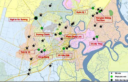 Vị trí các điểm đen tai nạn giao thông trên địa bàn TP HCM. Ảnh: Sở GTVT TP HCM.